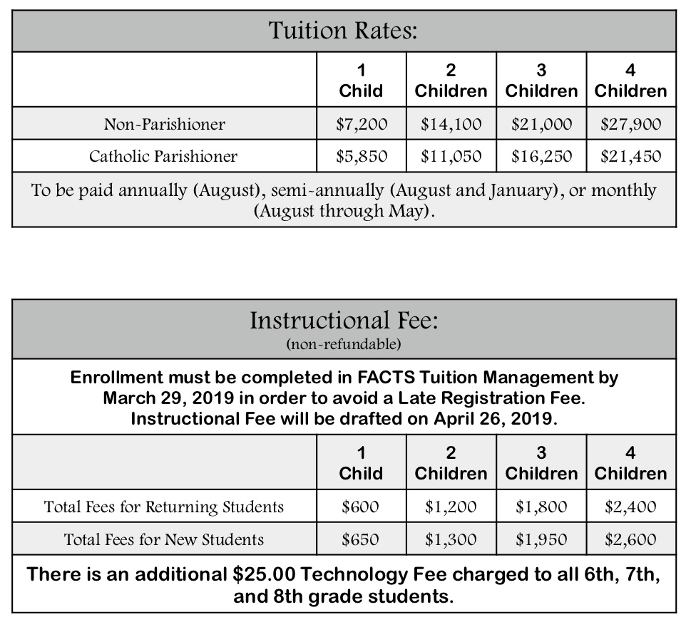 Tuition & Fees - St  Andrew Catholic School
